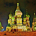 Night View Of Saint Basil Cathedral In Red Square In Moscow-russia by Ruth Hager