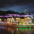 Nightlife At Clarke Quay Singapore Aerial by Jit Lim