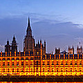 Nightly View London Houses Of Parliament by Melanie Viola