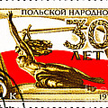 Nike Holding A Sword With The Polish Flag Behind by Jim Pruitt