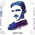 Nikola Tesla Patent Art Electric Arc Lamp by Justyna JBJart