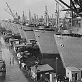 Nine Huge Liberty Cargo Ships At Docks by Everett
