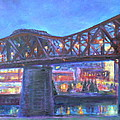 City At Night Downtown Evening Scene Original Contemporary Painting For Sale by Quin Sweetman