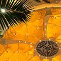 Sunshine Yellow Silk Decor With Stars by Georgia Mizuleva
