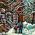 No School Today Out For A Snowy Walk Verdun Winter Winding Staircases Montreal Paintings C Spandau by Carole Spandau