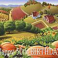 No10 Happy 50th Birthday Greeting Card  by Walt Curlee