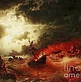 Nocturnal Marine With Burning Ship by Pg Reproductions