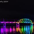 Norbert F. Beckey Bridge In Rainbow Lighting by Paul Brooks