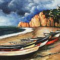 Normandy Coast - Landscape Oil by Peter Potter