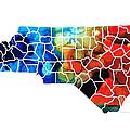 North Carolina - Colorful Wall Map By Sharon Cummings by Sharon Cummings
