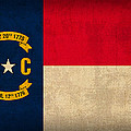 North Carolina State Flag Art On Worn Canvas by Design Turnpike