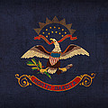 North Dakota State Flag Art On Worn Canvas by Design Turnpike