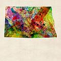 North Dakota Watercolor Map by Michael Tompsett