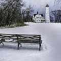North Point Lighthouse And Bench by Scott Norris