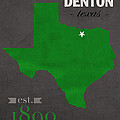 North Texas University Mean Green Denton College Town State Map Poster Series No 078 by Design Turnpike