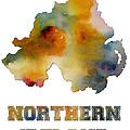 Northern Ireland Watercolor  Map by Voros Edit