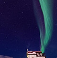 Northern Lights And House Boat On Great Slave Lake In Yellowknife by Vincent Demers