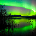 Northern Lights Mirrored On Lake by Stephan Pietzko