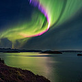 Northern Lights Over Thingvallavatn Or by Panoramic Images