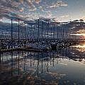 Northwest Marina Sunset Sunstar by Mike Reid