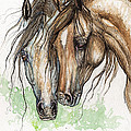 Nose To Nose Watercolor Painting by Angel Ciesniarska