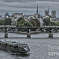 Notre Dame And Boat On The River Seine Paris by Philip Pound