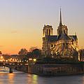 Notre Dame Cathedral At Sunset Paris France by Ivan Pendjakov