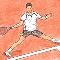 Novak Djokovic Sliding On Clay by Steven White