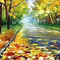 November Alley - Palette Knife Landscape Autumn Alley Oil Painting On Canvas By Leonid Afremov - Siz by Leonid Afremov