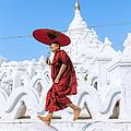 Novice Monk Jumping On White Pagoda - Mandalay - Burma by Matteo Colombo