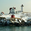 Nubble In Winter by Elaine Franklin