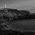 Nubble Light At Sunset Bw by Susan Candelario
