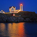 Nubble Light In York Me Cape Neddick Christmas Blue Sky by Toby McGuire