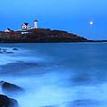 Nubble Lighthouse Full Moon Tide by John Burk