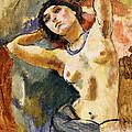Nude Brunette With Blue Necklace Nu La Brune Au Collier Bleu by Jules Pascin