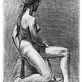 Nude Female Figure Drawing by Adam Long