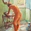 Nude In The Bathroom by Johannes Strieder
