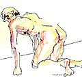 Nude Male Drawings 3w by Gordon Punt