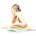 Nude Model Gesture Xvi Tropical Flower by Irina Sztukowski