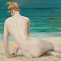 Nude Seated On The Shore by John Reinhard Weguelin