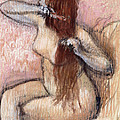 Nude Seated Woman Arranging Her Hair Femme Nu Assise Se Coiffant by Edgar Degas
