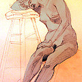 Nude Woman Leaning On A Barstool by Greta Corens