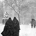 Nuns In Snow New York City 1946 by Melissa A Benson