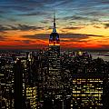 Nyc Sunset by Val Stone Creager