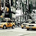 Nyc Yellow Cabs And Lady Liberty -  Ck1 by Hannes Cmarits