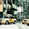 Nyc-yellow Cabs And Lady Liberty 3x1-  2 by Hannes Cmarits