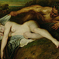 Nymph And Satyr by Jean Antoine Watteau