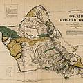 Oahu Sovereign Hawaii Map  1881 by Daniel Hagerman