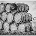 Oak Wine Barrels Black And White by LeeAnn McLaneGoetz McLaneGoetzStudioLLCcom