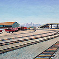 Oakland Train Tracks And San Francisco Skyline by Asha Carolyn Young